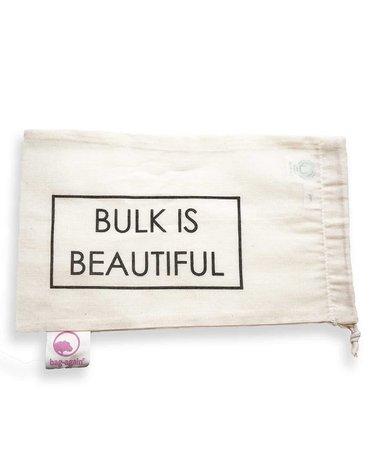 """Bag-again, Worek z organicznej bawełny z nadrukiem """"BULK IS BEAUTIFUL"""", 15 x 25 cm"""