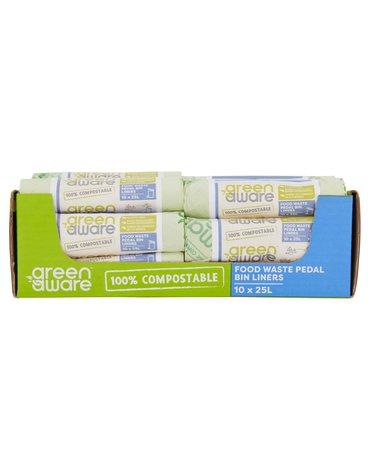 GreenAware, Kompostowalne worki na odpady spożywcze 25L, 10 szt. x 30 KARTON