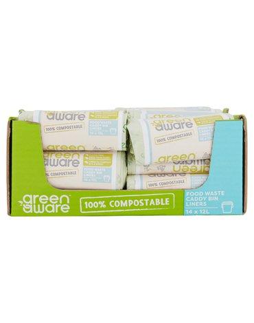 GreenAware, Kompostowalne worki na odpady spożywcze 12L, 14 szt. x 36 KARTON