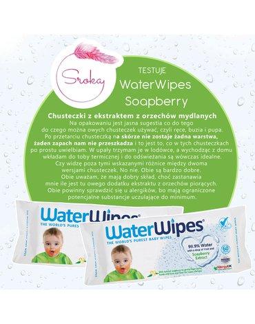 WaterWipes, Chusteczki nasączane czystą wodą, Soapberry (z dodatkiem wyciągu  z orzechów mydlanych), 60szt. PL