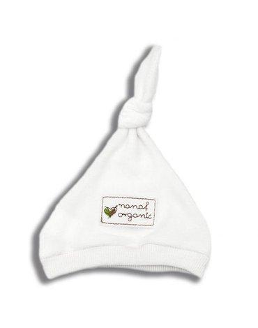 Nanaf Organic, BASIC, Czapka z supełkiem, biała