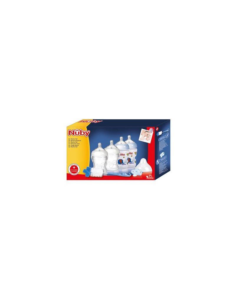 Nuby Niebieski zestaw: Butelki 2x 150ml, 2x 270ml; Smoczek; Szczotka