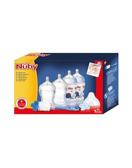 Nuby Niebieski zestaw: Butelki 2x 150ml, Smoczek 2x 270ml, Szczotka