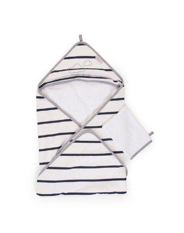 Childhome Ręcznik z kapturkiem + myjka Jersey Marin