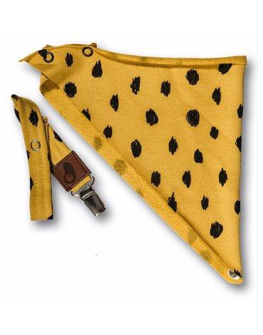 Hi Little One - bandanka z zawieszką Leopard Mustard  2 in 1
