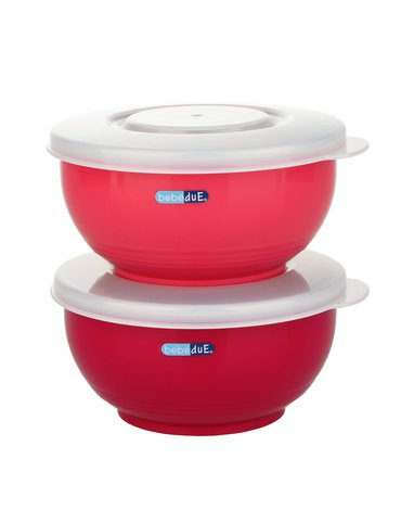 Bebe Due - Miseczki stalowe C&F Bebedue; czerwone; 250 ml; 2 szt.