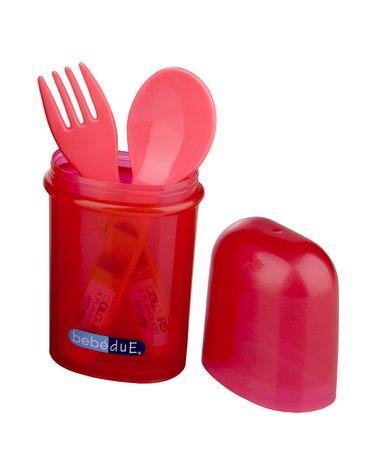Bebe Due - Sztućce ze śliniakiem w etui C&F Bebedue; czerwone