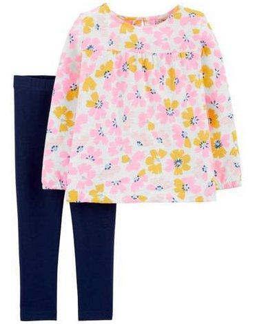 Carter's - Zestaw 2el. Top i legginsy kwiaty - 80 cm
