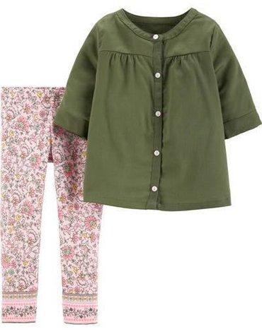 Carter's - Zestaw 2el. Bluzka legginsy kwiaty - 80 cm