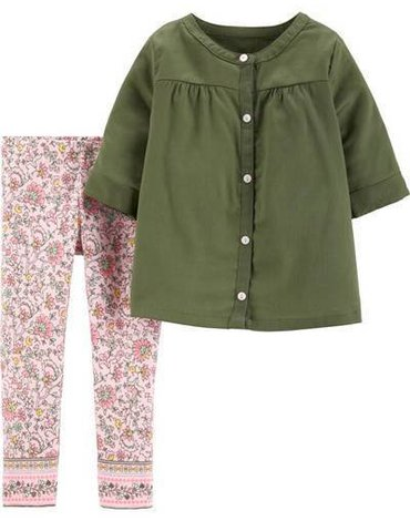 Carter's - Zestaw 2el. Bluzka legginsy kwiaty - 92 cm