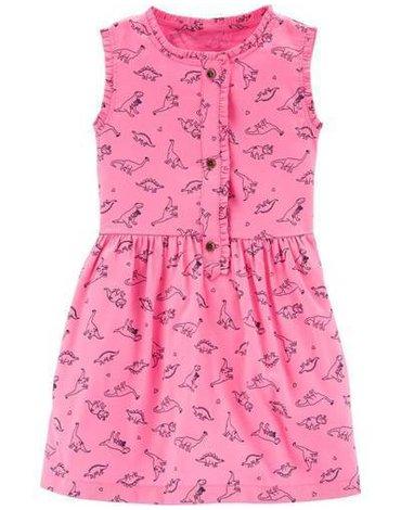 Carter's - Satynowa sukienka w dinozaury - 92 cm