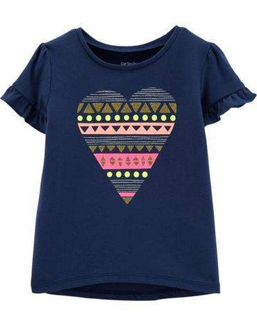 Carter's - T-shirt z serduszkiem granatowy - 92 cm