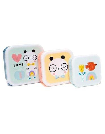 Petit Monkey - Zestaw 3 śniadaniówek lunchbox Panda love