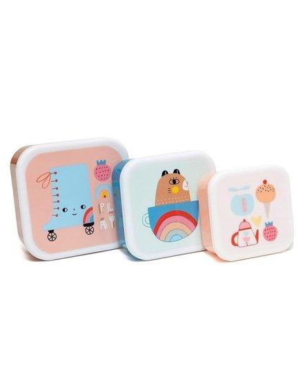 Petit Monkey - Zestaw 3 śniadaniówek lunchbox Skate boot
