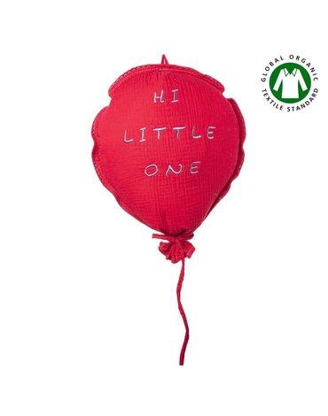 Hi Little One - Poduszka dekoracyjna z organicznego oddychającego BIO  muślinu GOTS BALOON STRAWBERRY