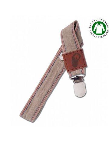 Hi Little One - Zawieszka do smoczka z organicznej BIO bawełny GOTS Muslin Pacifier holder Dark Oak