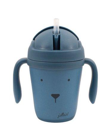 Jollein - Baby & Kids - Jollein - EKO Kubek do nauki picia ze składanym ustnikiem Animal Club Steel Blue