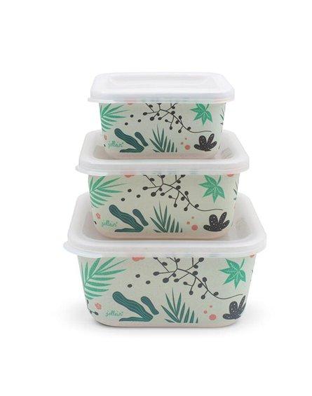 Jollein - Baby & Kids - Jollein - 3 śniadaniówki EKO Lunchbox Leaves