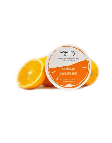 Uoga Uoga, Naturalny peeling do ciała z solą morską i olejkiem ze słodkiej pomarańczy, 200ml