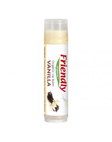 Friendly Organic, Organiczny balsam do ust, waniliowy, 4,25g