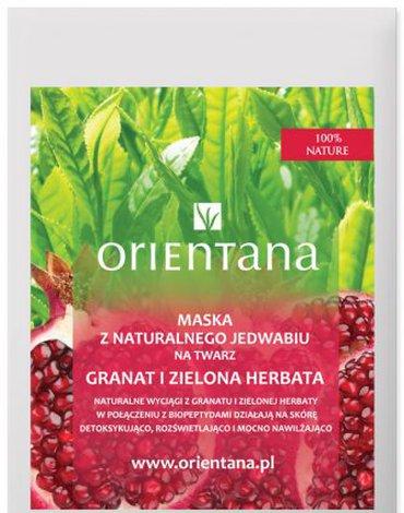 Orientana, Maska z jedwabnej tkaniny na twarz - nasączona biopeptydami, ekstraktem z granatu i zielonej herbaty