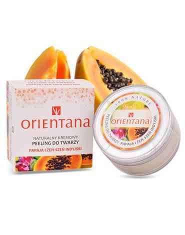 Orientana, Naturalny Kremowy Peeling do Twarzy PAPAJA I ŻEŃSZEŃ INDYJSKI, 50 g