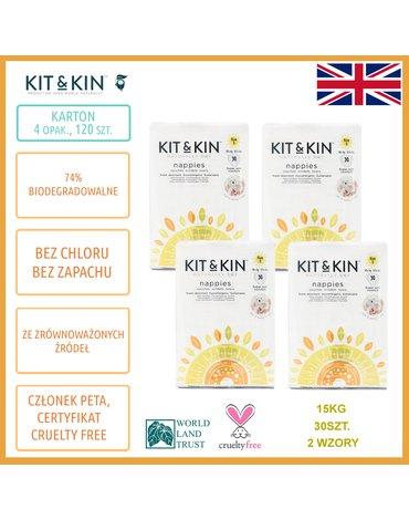 Kit and Kin, Biodegradowalne Pieluszki Jednorazowe 5 Junior (12kg +), Koala/Monkey, 30 szt.x4, KARTON