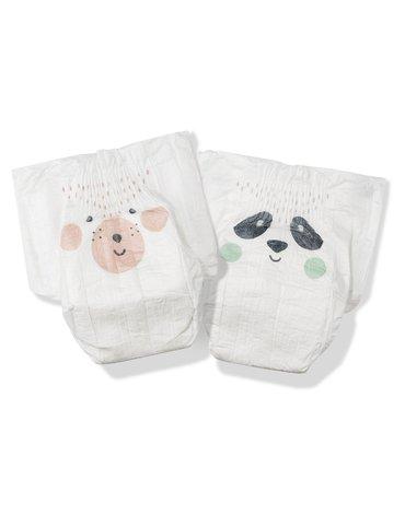 Kit and Kin, Biodegradowalne Pieluszki Jednorazowe 1 Mini (2-6kg), Bear/Panda, 40 szt.