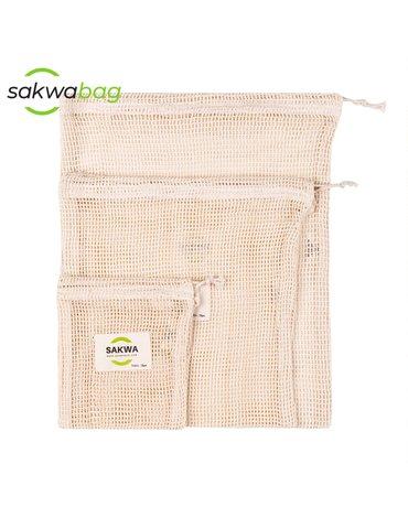 Sakwabag, Worki na zakupy zero waste, zestaw mix, 3 sztuki