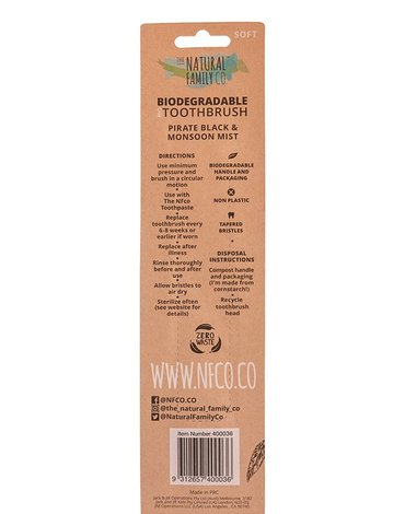 NATURAL FAMILY CO (NFCo) - The Natural Family Co, Biodegradowalne szczoteczki do zębów, 2szt., soft, Pirate Black i Monsoon Mist
