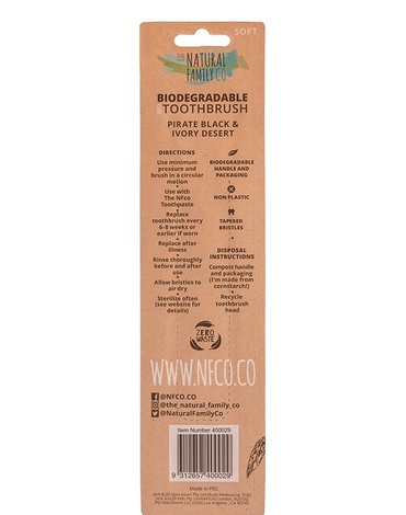 NATURAL FAMILY CO (NFCo) - The Natural Family Co, Biodegradowalne szczoteczki do zębów, 2szt., soft, Pirate Black i Ivory Desert