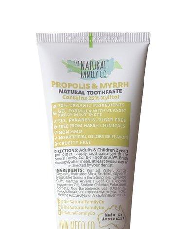 NATURAL FAMILY CO (NFCo) - The Natural Family Co, Naturalna pasta do zębów bez fluoru, Propolis i Myrrh, 110g