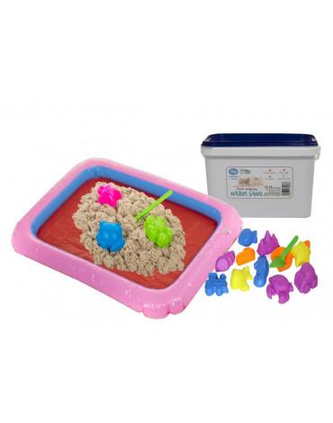 Nefere zabawki piasek - Piasek kinetyczny 3 kg + foremki + piaskownicą