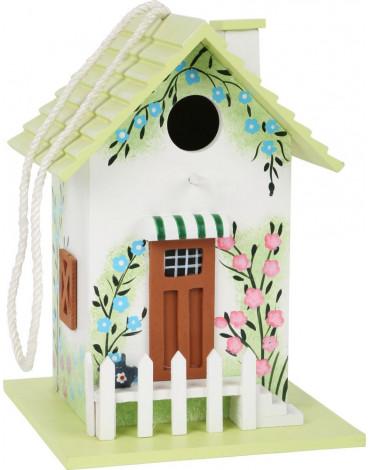 Sfd - Domek dla ptaków - ozdobna budka lęgowa z zielonym dachem