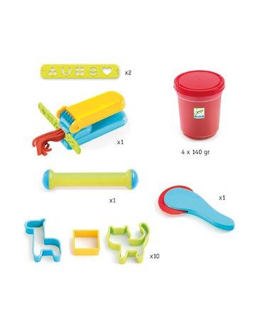 Djeco - Zest. masy plastycznej 4 kol.+21 akcesor. DJ09755