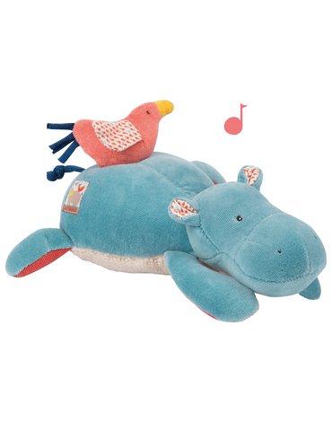 Moulin Roty - Pluszak grający hipopotam 25 cm 658041