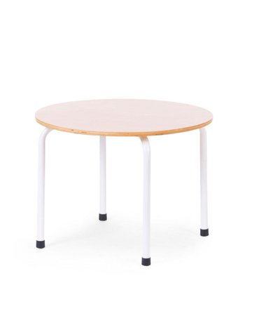 CHILDHOME - SMALL METAL WOOD ROUND TABLE NATURAL WHITE