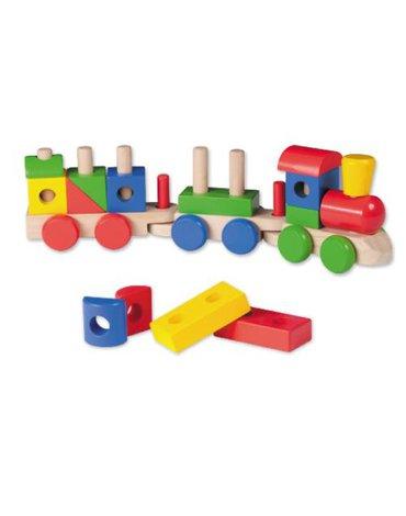 Joueco - Drewniana kolejka/pociąg z klockami