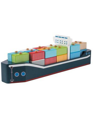 Joueco - Drewniany statek z kontenerami  80067