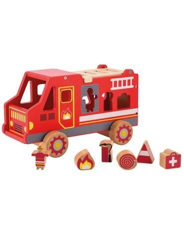 Joueco - Drewniany wóz strażacki 80068