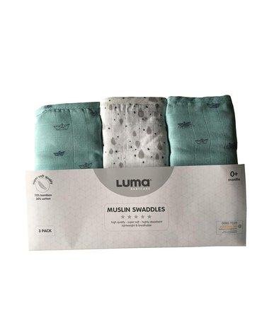 Muślinowy Otulacz/pielucha 3-pack LUMA Paper Boats