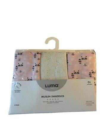 Muślinowy Otulacz/pielucha 3-pack LUMA Racoon Pink