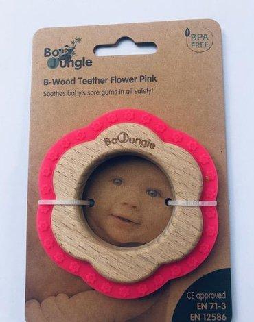 Bo Jungle - B-Gryzak drewniano-silikonowy Flower Pink