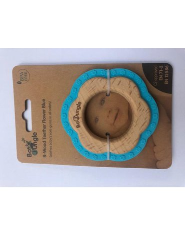 Bo Jungle - B-Gryzak drewniano-silikonowy Flower Blue