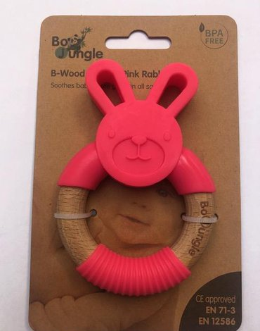 Bo Jungle - B-Gryzak drewniano-silikonowy Animals Pink  Rabbit