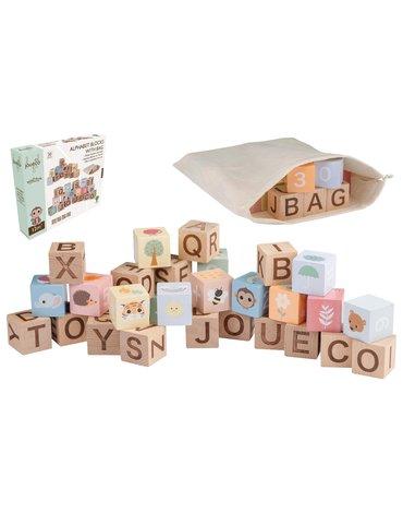Joueco - Drewniane klocki alfabet z torbą The Wildies Famil