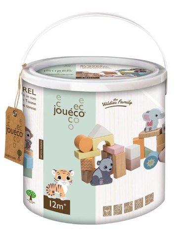 Joueco - Drewniane klocki w wiaderku The Wildies Family