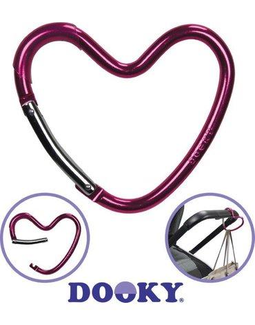 Dooky - Hak/zaczep do wózka serce Glossy Pink