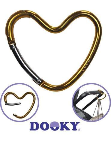 Dooky - Hak/zaczep do wózka serce Glossy Gold