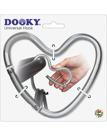 Dooky - Hak/zaczep do wózka serce Matt Silver